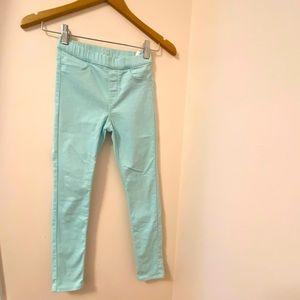 H&M girls teal pants size:8-9. Skinny.